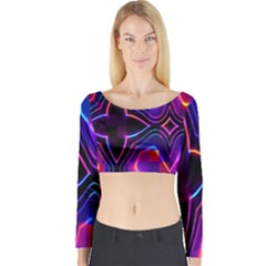 Rainbow Abstract Background Pattern Long Sleeve Crop Top