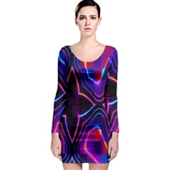 Rainbow Abstract Background Pattern Long Sleeve Bodycon Dress
