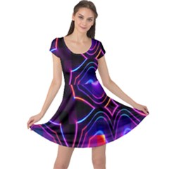 Rainbow Abstract Background Pattern Cap Sleeve Dresses