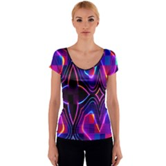 Rainbow Abstract Background Pattern Women s V-Neck Cap Sleeve Top