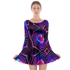 Rainbow Abstract Background Pattern Long Sleeve Skater Dress