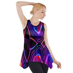 Rainbow Abstract Background Pattern Side Drop Tank Tunic