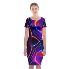 Rainbow Abstract Background Pattern Classic Short Sleeve Midi Dress