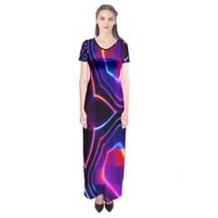 Rainbow Abstract Background Pattern Short Sleeve Maxi Dress