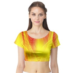 Realm Of Dreams Light Effect Abstract Background Short Sleeve Crop Top (Tight Fit)
