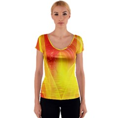 Realm Of Dreams Light Effect Abstract Background Women s V-Neck Cap Sleeve Top