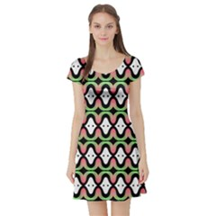 Abstract Pinocchio Journey Nose Booger Pattern Short Sleeve Skater Dress