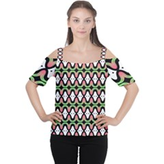 Abstract Pinocchio Journey Nose Booger Pattern Women s Cutout Shoulder Tee