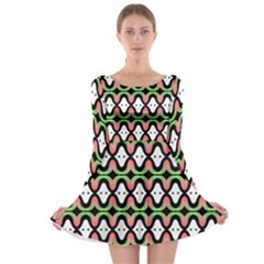 Abstract Pinocchio Journey Nose Booger Pattern Long Sleeve Skater Dress