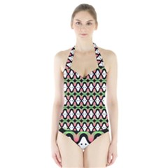 Abstract Pinocchio Journey Nose Booger Pattern Halter Swimsuit