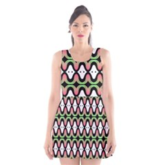 Abstract Pinocchio Journey Nose Booger Pattern Scoop Neck Skater Dress