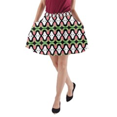Abstract Pinocchio Journey Nose Booger Pattern A-Line Pocket Skirt