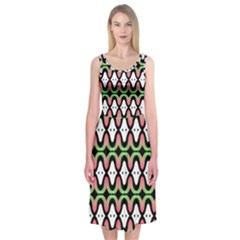 Abstract Pinocchio Journey Nose Booger Pattern Midi Sleeveless Dress