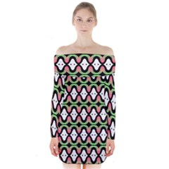 Abstract Pinocchio Journey Nose Booger Pattern Long Sleeve Off Shoulder Dress