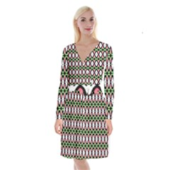 Abstract Pinocchio Journey Nose Booger Pattern Long Sleeve Velvet Front Wrap Dress