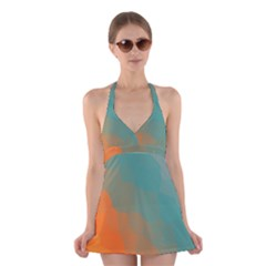 Abstract Elegant Background Pattern Halter Swimsuit Dress