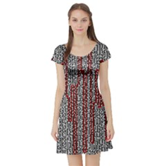 Abstract Geometry Machinery Wire Short Sleeve Skater Dress