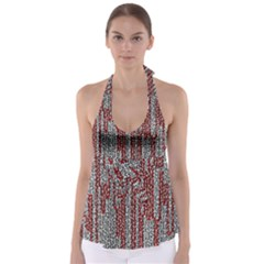 Abstract Geometry Machinery Wire Babydoll Tankini Top