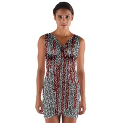 Abstract Geometry Machinery Wire Wrap Front Bodycon Dress