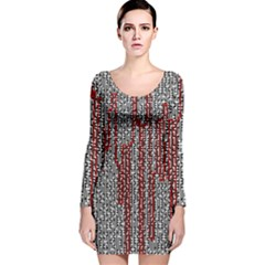 Abstract Geometry Machinery Wire Long Sleeve Velvet Bodycon Dress