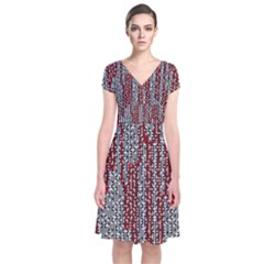 Abstract Geometry Machinery Wire Short Sleeve Front Wrap Dress