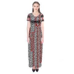 Abstract Geometry Machinery Wire Short Sleeve Maxi Dress