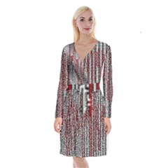 Abstract Geometry Machinery Wire Long Sleeve Velvet Front Wrap Dress