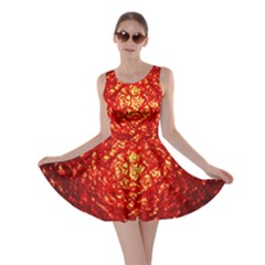 Abstract Red Lava Effect Skater Dress