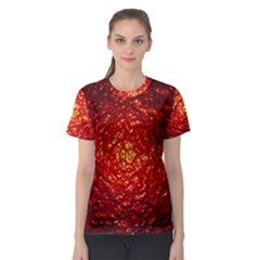 Abstract Red Lava Effect Women s Sport Mesh Tee