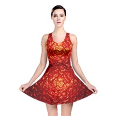 Abstract Red Lava Effect Reversible Skater Dress