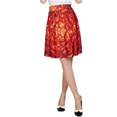 Abstract Red Lava Effect A-Line Skirt