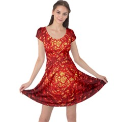Abstract Red Lava Effect Cap Sleeve Dresses