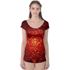Abstract Red Lava Effect Boyleg Leotard