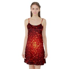 Abstract Red Lava Effect Satin Night Slip