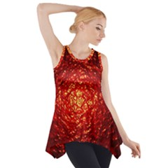Abstract Red Lava Effect Side Drop Tank Tunic