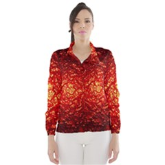 Abstract Red Lava Effect Wind Breaker (women)