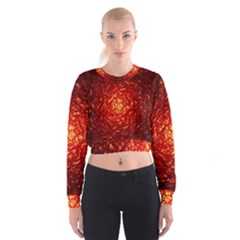 Abstract Red Lava Effect Women s Cropped Sweatshirt