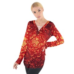 Abstract Red Lava Effect Women s Tie Up Tee