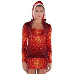 Abstract Red Lava Effect Women s Long Sleeve Hooded T Shirt