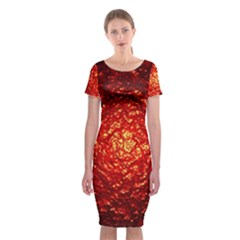 Abstract Red Lava Effect Classic Short Sleeve Midi Dress