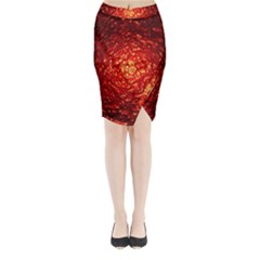 Abstract Red Lava Effect Midi Wrap Pencil Skirt