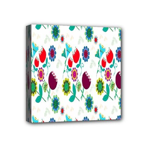 Lindas Flores Colorful Flower Pattern Mini Canvas 4  X 4