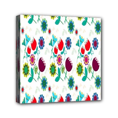 Lindas Flores Colorful Flower Pattern Mini Canvas 6  X 6