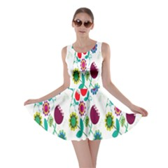 Lindas Flores Colorful Flower Pattern Skater Dress