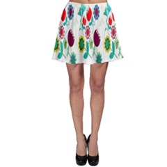 Lindas Flores Colorful Flower Pattern Skater Skirt