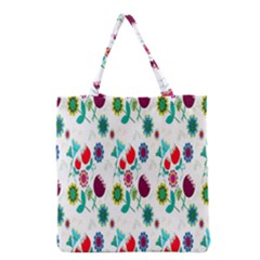 Lindas Flores Colorful Flower Pattern Grocery Tote Bag