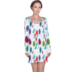 Lindas Flores Colorful Flower Pattern Long Sleeve Nightdress