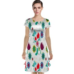 Lindas Flores Colorful Flower Pattern Cap Sleeve Nightdress