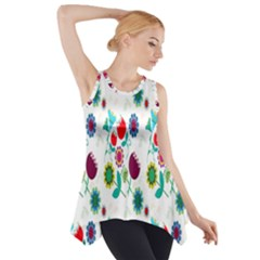 Lindas Flores Colorful Flower Pattern Side Drop Tank Tunic