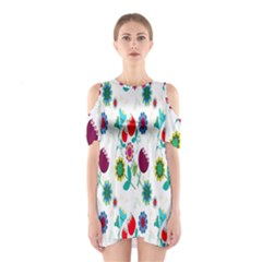 Lindas Flores Colorful Flower Pattern Shoulder Cutout One Piece